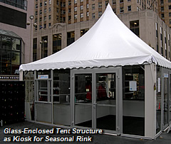 Glass-Enclosed Tent Structure as Kiosk for Seasonal Rink